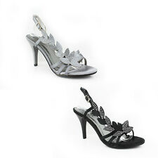 WOMEN'S LADIES STRAPPY SLING BACKS MID HIGH HEEL COURT SHOES SANDALS SIZE 3-8