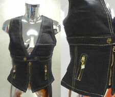 Womens Ladies Black Denim Waistcoat Jacket Golden Zip Coat  Size 8 10 12 14 16