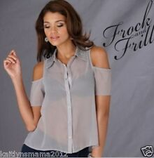 New Womens Frock and Frill Studded Collar Cut Out Blouse/Shirt,Szs 8 or 10