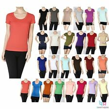 Women's Short Sleeve Scoop Neck Solid Stretch T-Shirt Basic Tee Crew Cotton