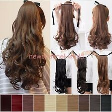 Drawstring Ponytail Piece Clip in on Pony Tail Hair Extensions Real Natural ncw
