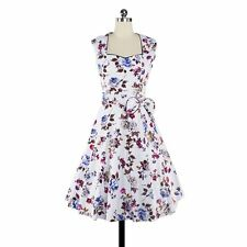Gorgeous Women 50s 60s Vintage Style Floral Printed Cocktail Party Summer Dress
