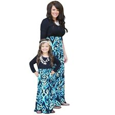 Family Style Mother and Daughter Matching Clothes Long Sleeve Maxi Boho Dresses