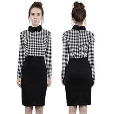 Sexy Womens Houndstooth Bodycon Slim Pencil Evening Cocktail Party Dress