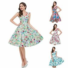 New Elegant Womens Summer Floral Printed Vintage Retro Style Swing Dress 4 Color