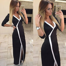 Fashion Sexy Womens Long Sleeve Bodycon V-neck Slim OL Party Cocktail Long Dress