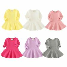 Cute Baby Kids Girls Princess Dress Cotton Pleated Long Sleeve Tutu Dress 6M-4Y