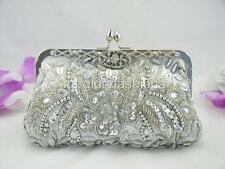 Silver Beaded Sequined Wedding Evening Clutch Crystal Frame Formal Lots Colors