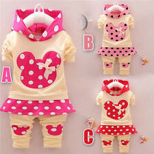 2pcs cotton kids baby Girls hoodied tops+pants Set Outfits autumn clothing dot