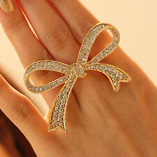 Adjustable Rings Crystal Big Bowknot Design Finger Ring Lady Fine Jewelry