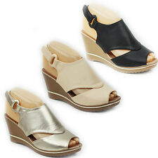 NEW WOMENS LADIES PLATFORM WEDGE HEEL PEEP TOE CUT OUT SANDALS SHOES SIZE 3-8
