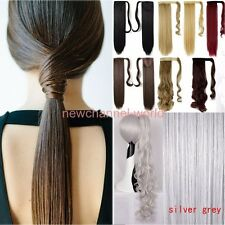 Clip In Hair Extensions human Thick Ponytail Wrap Around Pony Tail Black Blonde