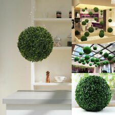 2 Artificial 28cm Green Boxwood Buxus Topiary Grass Hanging Balls Plant New