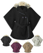 Womens Fur Collar Plain Short Buttoned Belted Cape Coat Top Ladies Jacket 8-14