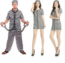 Adult Prisoner Black White Convict Stag Do Party Fancy Dress Costume Halloween