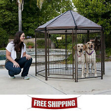 Outdoor Dog Kennel Crate Pet Gazebo House Cage Enclosure Patio Metal Playpen