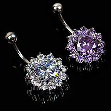 steel Flower Navel Belly Ring Rhinestone Button Bar Body Piercing Jewelry new