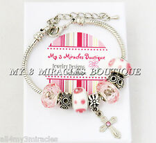 CROSS Charm Bracelet PINK WHITE Communion Confirmation Adjustable Mother's Day