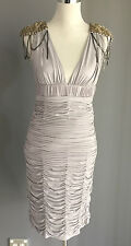 NWT ROSE NOIR Light Grey Knee Length Ruched Dress  Parties Formals Sizes 10 & 12