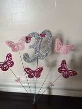 LARGE AGE CAKE TOPPER WITH GLITTER BUTTERFLIES  18,21,30,40,50 Etc
