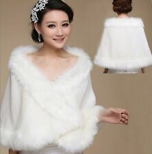 Fashion White/Ivory Faux Fur Wedding Shawl Wrap Shrug Bolero Bride Coat/Jacket