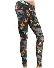Liquorbrand Aloha Womens Leggings Floral Skull Alternative Gothic Punk Pants