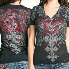 Xtreme Couture Forsaken Celtic Cross Wings Fleur Womens VNeck T-Shirt Black S-XL