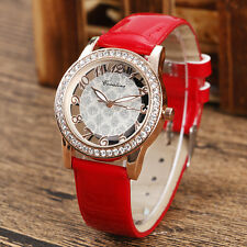 Elegant Blink Crystal Hollow Leather Strap Quartz Girl  Business Wrist Watch