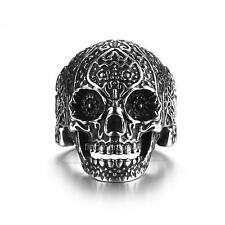 Fashion Jewelry Men's Floral Skull Ring Biker Gothic Punk 316L Stainless Steel