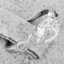 womens silver band infinity crystal wedding ring white gold plated free shipping