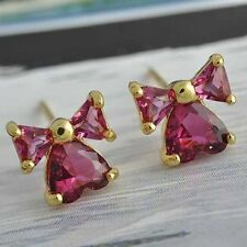 fashion jewelry girls gold plated Crystal earrings kids bow stud earrings