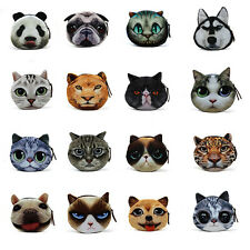 Cat/Dog Face Women Girls Plush Purse Pouches Cute Animal Coin Purse Wallet