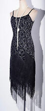 Gatsby 1920's Flapper Sequin&Tassel Black Strap Dress Size S-6XL RD DRESS_4036