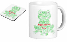 Personalised Mug (with coaster) Word Art Frog - your own words, gift Birthday