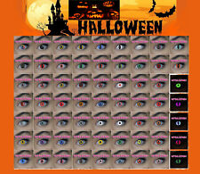 Super Lot Halloween°°Crazy Contacts Lenses+ Blood Teeth+ Tattoo Scar+ Case Lens°
