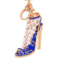 Enamel Women Handbag Keychain Crystal Golden High Heeled Shoes Key Ring
