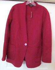 TALBOTS PETITES WOOL BLEND UNLINED 1-BUTTON BLAZER JACKET MAROON Wine NWT