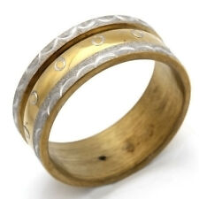 Gold Plated Stainless Steel Ring Size 6 7 8 9 11 12 Unique Band Waves Circles