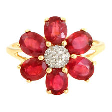 Ruby 5.25 Carat Genuine Gemstone Diamond Ring In10kt Solid Yellow Gold Jewelry