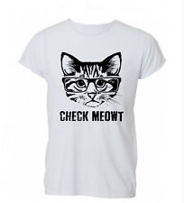 Check Meowt Cat Kitten Funny Cute Hipster Nerd Mens Womens TShirt T-Shirt