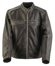 Black Brand Motorcycle Clothing Two Lane Brown Leather Riding Jacket