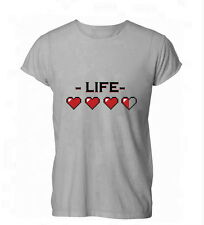 Life Hearts Gamer Retro Nerd Geek Gaming Ocarina Womens Mens T-Shirt Grey