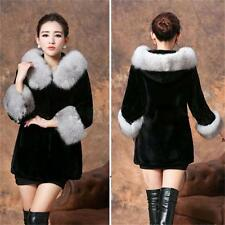 Women Winter New Black Rabbit Fur Coat  Faux Fox Fur Collar Splice Hooded Jacket