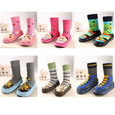 1PC Children Infant Cartoon Shoes Indoor Faux Leather Sole Non-Slip Thick Socks