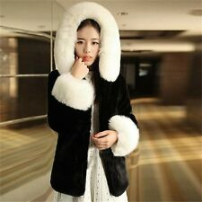 Winter New Women Fashion Faux Rex Rabbit Fur Jacket Fox Fur Collar Hooded  Coat