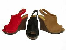 Qupid Loraine-19 open toe platform 4.5 inch wedge faux suede slingback pumps