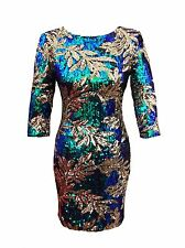 Womens Gold Green Multi Sequin Sparkly Glam Evening Party Mini Dress 8 10 12 14