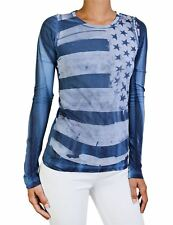 NEW ROCKSTAR SUSHI WOMEN'S 'VF038' TEE LONG SLEEVE DISTRESSED FLAG PRINT IN BLUE