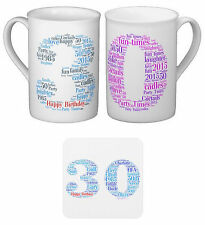 Personalised Bone Chine Mug, Word Art Birthday gift 30th, With your own words