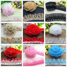 1/3/5 yards 35mm 40mm 45mm 50mm 55mm Organza Lace Gathered Pleated Sequined Trim